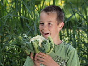 Boy with cauliflower